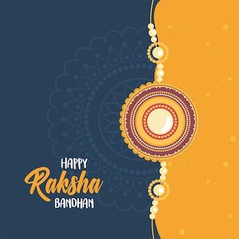 Raksha bandhan, pulseira decorada de relação irmãos e irmãs celebração indiana