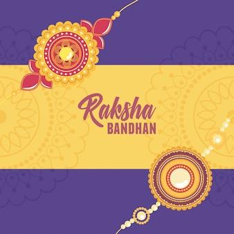 Raksha bandhan, pulseira floral com símbolo de gemas de amor irmãos e irmãs celebração indiana