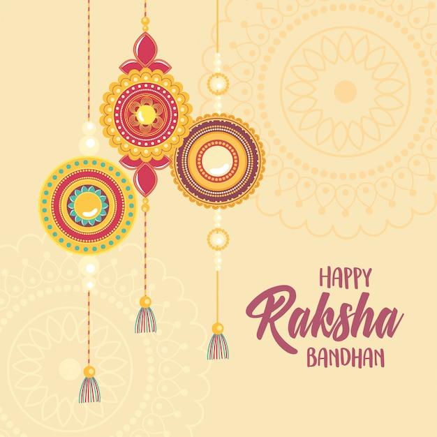 Raksha bandhan, pulseira tradicional de mandalas de amor irmãos e irmãs festival indiano