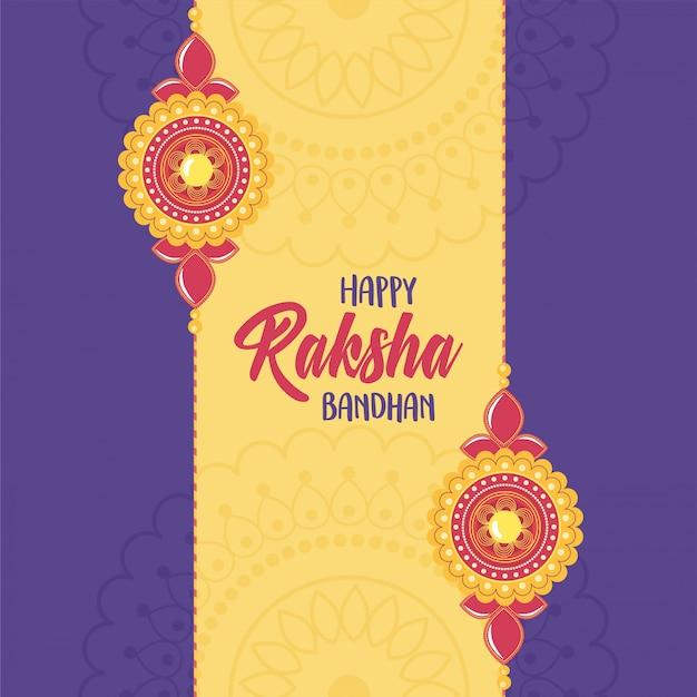 Raksha bandhan, pulseiras elegantes de relação irmãos e irmãs festival indiano