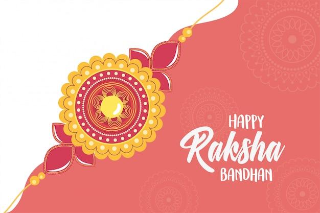 Raksha bandhan, símbolo de forma floral tradicional pulseira indiana de amor entre irmãos e irmãs