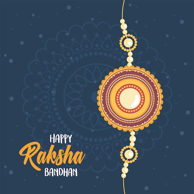 Raksha bandhan, símbolo de pulseira indiana de amor entre irmãos e irmãs fundo escuro