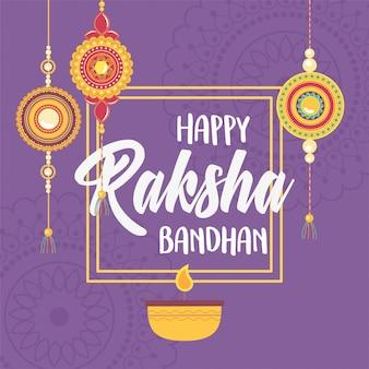 Raksha bandhan, vela e pulseiras de amor irmãos e irmãs festival indiano