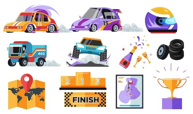 Rally e corrida de carro e perseguição, vitória e prêmio