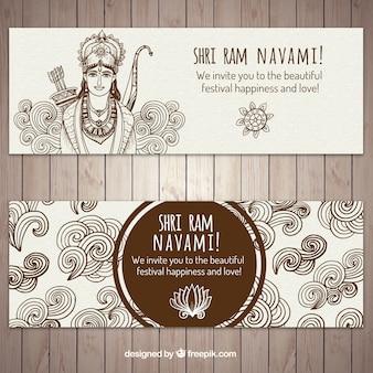 Ram navami bandeiras com elementos desenhados à mão