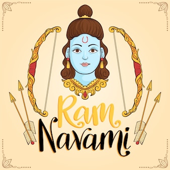 Ram navami celebração mão desenhada