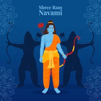 Ram navami com arqueiro guerreiro