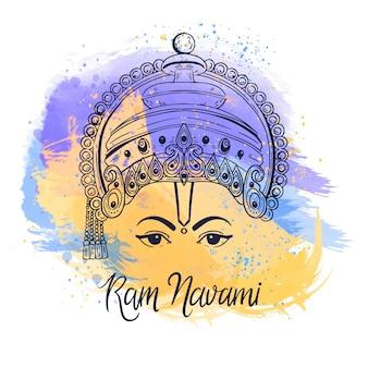 Ram navami com design de manchas de aquarela
