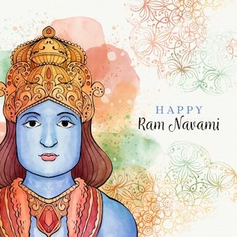 Ram navami com manchas de aquarela e deus tradicional