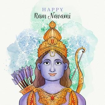 Ram navami com manchas de aquarela e mulher