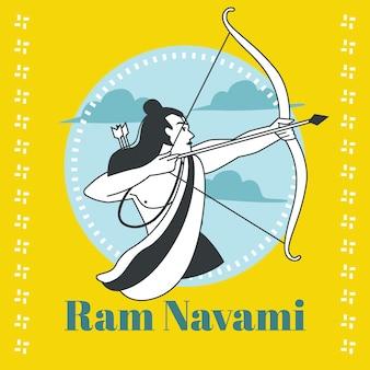 Ram navami em design plano