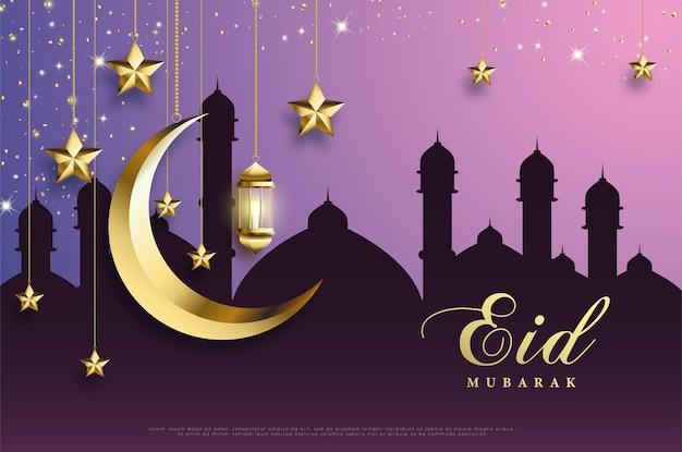 Ramadã com lua e estrelas.