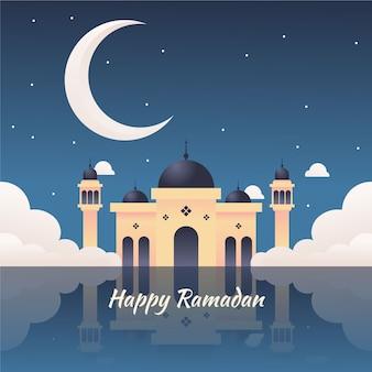 Ramadã com lua e estrelas