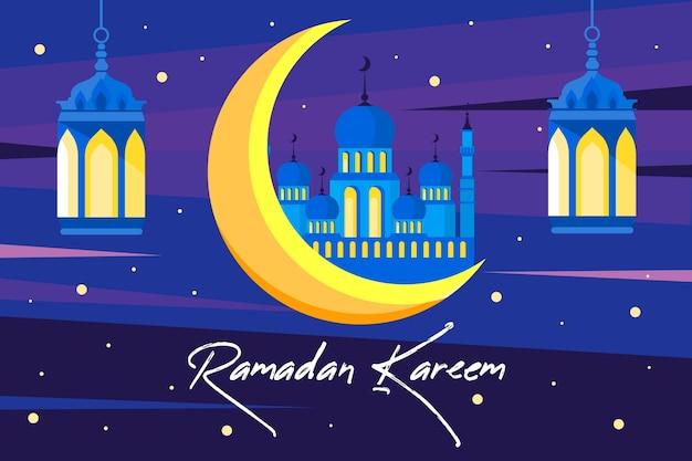 Ramadã com lua e palácio