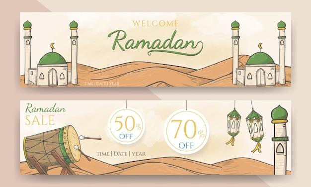 Ramadã de boas-vindas desenhado à mão e banner de venda do ramadã