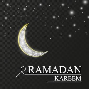 Ramadã de férias. a lua em um fundo escuro com a inscrição.