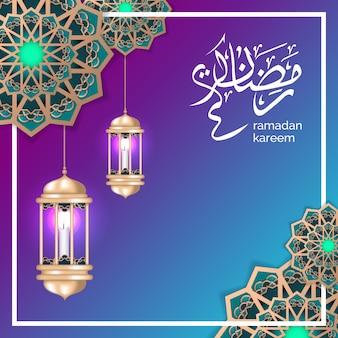 Ramadã islâmica saudação com lua crescente e lanterna de ouro
