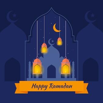 Ramadã plana com lua crescente e lâmpadas