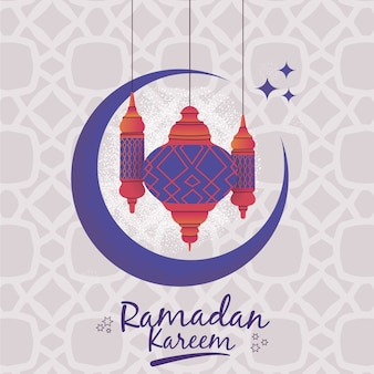 Ramadan com lanternas e lua