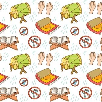 Ramadan doodle padrão sem emenda