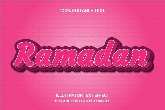 Ramadan, efeito de texto editável moderno padrão grava estilo