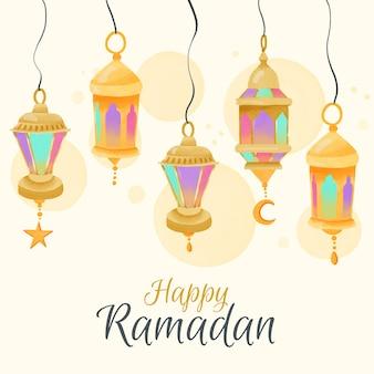 Ramadan em aquarela com lâmpadas de suspensão