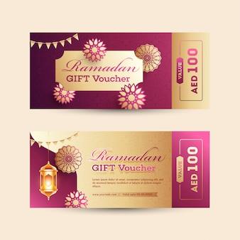 Ramadan gift voucher ou coleção de layout de cupom com desconto o