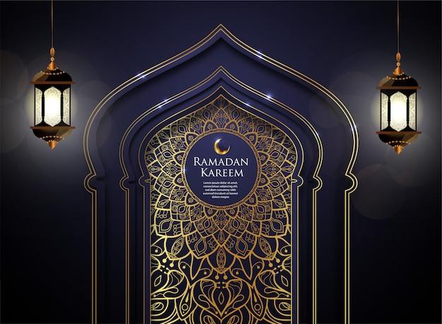 Ramadan islâmico azul kareem com fundo de ornamento de ouro