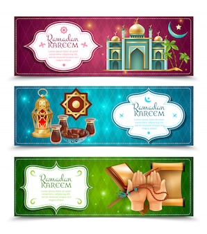 Ramadan kareem 3 banners horizontais conjunto