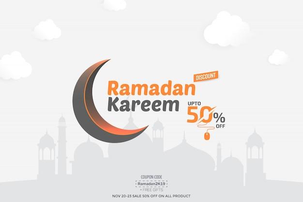 Ramadan kareem 50% banner de venda