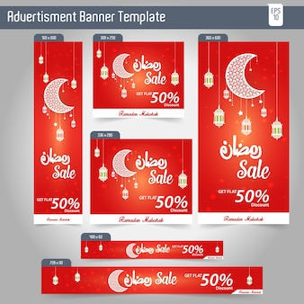Ramadan kareem advertising 6 different sale banner modelo