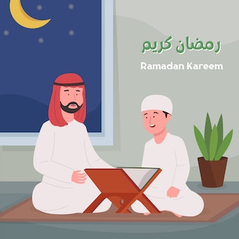Ramadan kareem arabian father teach son quran