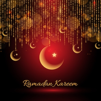 Ramadan kareem backgroud com pendurado crescentes