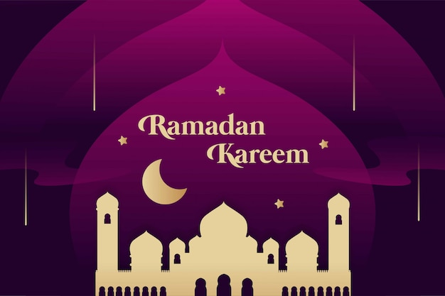 Ramadan kareem background gradient com mesquita de ouro