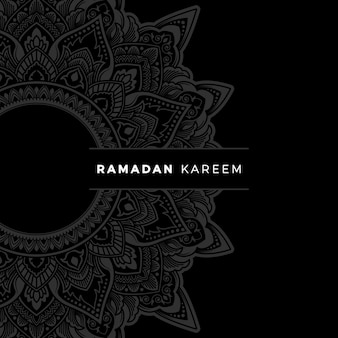 Ramadan kareem banner com moldura de arte doodle floral zentangle