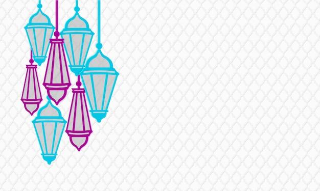 Ramadan kareem banner horizontal. estilo de corte de papel pendurado lanternas nas cores roxas e turquesas. padrão geométrico tradicional islâmico. ilustração. copie o espaço da área de texto