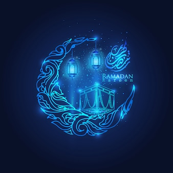 Ramadan kareem brilham lanterna árabe, lua e estrelas crescente islâmico
