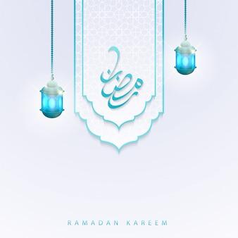 Ramadan kareem caligrafia cartão islâmico com padrão