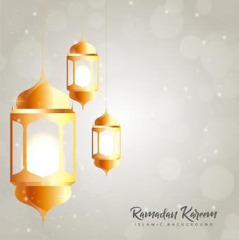 Ramadan kareem cartão com lanterna