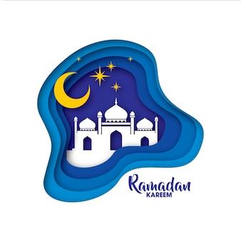Ramadan kareem cartão com mesquita árabe branca