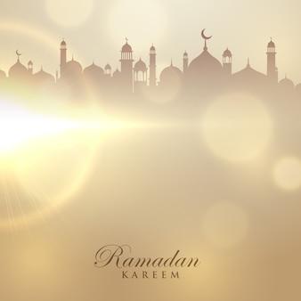 Ramadan, kareem, cartão, mesquita, silueta