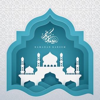 Ramadan kareem com caligrafia árabe e mesquita.