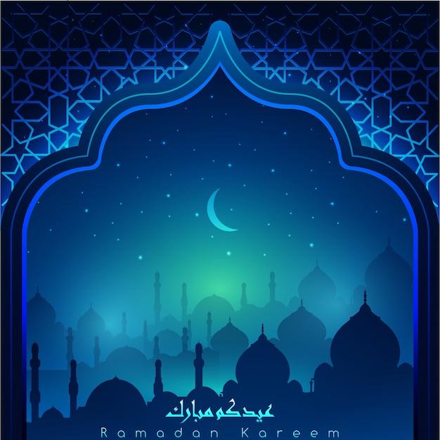 Ramadan kareem com caligrafia árabe e mesquitas à noite acompanhada por brilhos de estrelas e lua