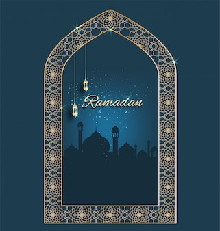 Ramadan kareem com crescente ornamentado dourado com windows