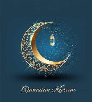 Ramadan kareem com crescente ornamentado dourado e mesquita de linha islâmica