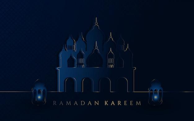 Ramadan kareem com fundo de mesquita