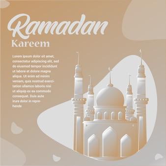 Ramadan kareem com ilustração de mesquita