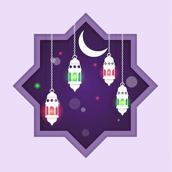 Ramadan kareem com ilustrações de lanternas à noite