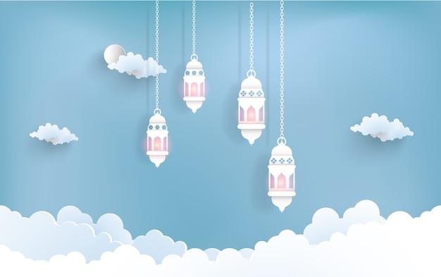 Ramadan kareem com ilustrações de lanternas