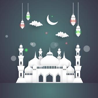 Ramadan kareem com ilustrações de mesquitas e lanternas à noite